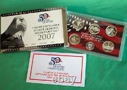 2004 thru 2009 S Proof State Quarter 90% Silver 31 Coin Statehood Set Box + COA