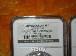 2006 20th ANNIVERSARY 3 coin set AMERICAN SILVER EAGLE MS70-REV. PROOF PR70-PR70