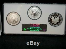 2006 20th Anniversary 3pc Silver Eagle Set NGC MS69 PF69 Reverse Proof ECC&C Inc