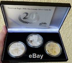 2006 3 Piece American Eagle 20th Anniversary Silver Coin Set With Reverse Proof