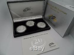 2006 AMERICAN EAGLE 20TH ANNIVERSARY SILVER 3 COIN SET REVERSE PROOF With BOX COA