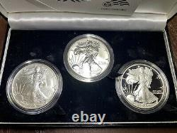 2006 AMERICAN SILVER EAGLE 20th ANNIVERSARY 3 COIN SET WithREVERSE PROOF & COA/OGP
