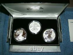 2006 AMERICAN SILVER EAGLE 20th ANNIVERSARY 3 COIN SET With REVERSE PROOF & COA