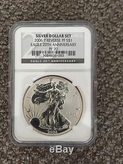 2006 P American Silver Eagle Reverse Proof NGC PF70 20th Anniversary Set