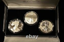 2006 Reverse Proof Silver Eagle 3 Coin 20th Anniversary Set W Box/coa