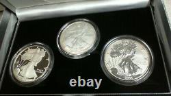 2006 W, P $1 20th Anniversary 3 Coin American Silver Eagle Set PR, Rev PR, BR. 1