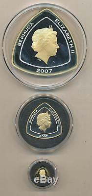 2007 Bermuda Triangle San Pedro Shipwreck Gold and Silver 3 Coin Proof Set $3 $9
