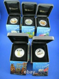 2009 2010 Australian Sea Life -The Reef 5 Silver Proof Coin Set GOOD QUALITY