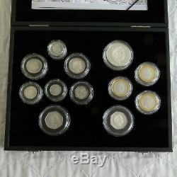 2009 UK 12 COIN SILVER PROOF SET WITH KEW 50 PENCE boxed/coa