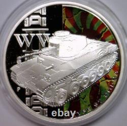 2010 Tanks of World War II TUVALU Silver $1 Colorized Proof 5-Coin Set Box & COA