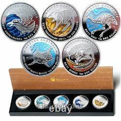 2011 Discover Australia Dreaming 5 Coin $1 Silver Proof Set Kookaburra Shark Emu