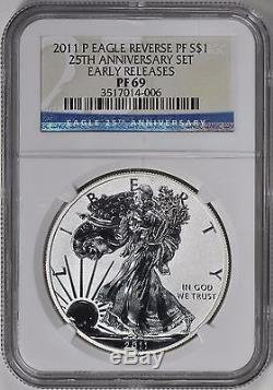 2011-P Early Releases 25th Anniversary Set Silver Eagle Reverse Proof NGC PF69