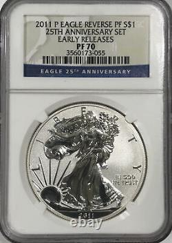 2011-P Early Releases Reverse Proof Silver Eagle 25th anniversary set NGC PF70