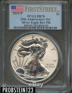 2011-P PCGS 25th Anniversary Silver Eagle Set PR70 Rev Proof FIRST STRIKE