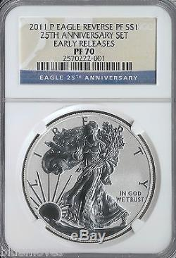 2011-P REVERSE PROOF SILVER EAGLE $1 NGC PF 70 ER FROM 25TH ANNIVERSARY SET