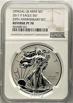 2011 P Silver Eagle Reverse Proof From 25th Anniversary Set Ngc Pf70