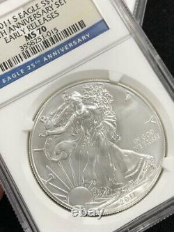 2011 Silver Eagle 25th Anniversary Set NGC MS 70 PF 70 PR 70 Reverse Proof