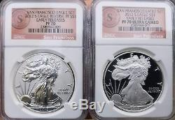 2012-S 75th Anniversary SF Mint Silver Eagle Set Reverse Proof NGC PF70 PR70