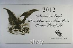 2012 S American Eagle San Francisco Two Coin Silver Proof and Reverse Proof set