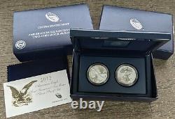 2012-S US Mint Silver Eagle 2-Coin SF Proof/Reverse Mint Set 75th Anniv OGP