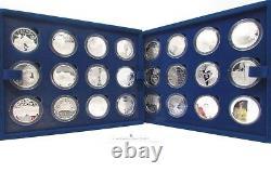 2012 Silver Proof £5 $5 The Queen's Diamond Jubilee 24 Coin Collection Coa CC