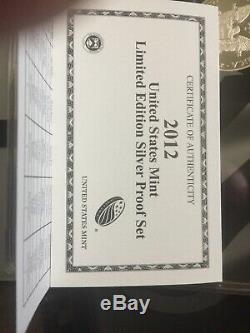 2012 U. S. Mint Limited Edition Silver Proof Set OGP & COA