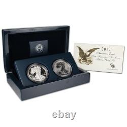 2012-s 2-piece Set United States American Silver Eagle Two Coin Proof Set