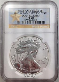 2013 W REVERSE PROOF SILVER EAGLE NGC PF70 / SP70 GOLD STAR LABEL WEST POINT SET