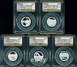 2014 S Proof Silver National Parks Quarter 5 Coin Set Pcgs Pr70 Dcam Atb Label