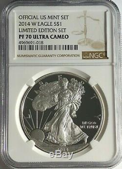 2014 W Ngc Pf70 Ultra Cameo Proof Silver American Eagle Limited Edition Set