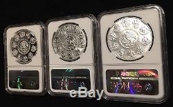 2015 Mexico 3-Coin Set Silver Libertad Onza Proof PF70 Reverse PL70 MS70 NGC