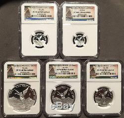 2015 Mexico Libertad Proof Silver 5-Coin Set 1.9 Oz. 999 Onza NGC PF70 -NR