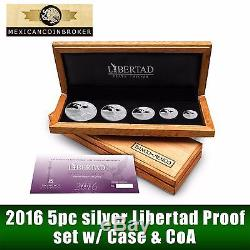 2016 5pc Silver Libertad Proof Set Treasure Coins of Mexico case with CoA