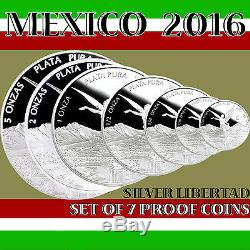 2016 MEXICO SET OF 7 SILVER LIBERTAD PROOF COINS in Original Mint Capsules