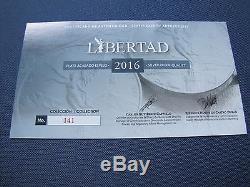 2016 Silver Libertad 7 Coin Proof Set 5, 2, 1, 1/2, 1/4, 1/10/ & 1/20 oz COA#141