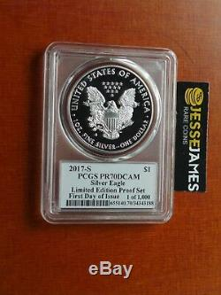 2017 S Proof Silver Eagle Pcgs Pr70 Mercanti First Day Issue Limited Edition Set