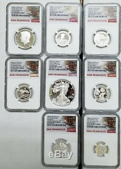 2018S Limited Edition Silver Proof 8 Coin Set NGC PF70 Trolley E. R. SKU C26