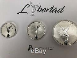 2018 3pc Silver Libertad Reverse Proof Set Original Packaging 1 Oz, 2 Oz, 5 Oz