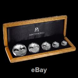 2018 Mexico 5-Coin Silver Libertad Proof Set (1.9 oz, Wood Box). Only 1000 Sets