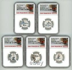 2018 S Silver Quarters Set 25c Reverse Proof Ngc Pf70 Early Releases Trolley R1