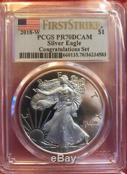 2018 W Silver Eagle Proof-pcgs Pr70dcam Congratulations Set- First Strike Label