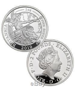 2019 G. Britain Silver Britannia 2 Piece Set 1 oz Silver £2 Coins Proof SKU58174