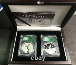 2019 Mexico 1 Oz Silver Libertad Reverse AND Regular Proof Box Set PCGS PR70