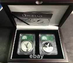 2019 Mexico 1 Oz Silver Libertad Reverse AND Regular Proof Box Set PCGS PR70 /49