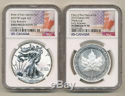 2019 NGC PF70 ER PRIDE 2 NATIONS SET Reverse Proof Silver Eagle $5 Maple Leaf