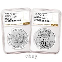 2019 Pride of Two Nations 2pc. Set U. S. Set NGC PF70 Brown Label