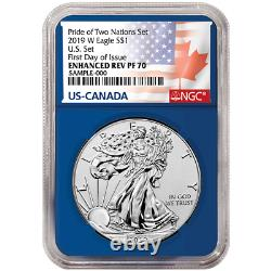 2019 Pride of Two Nations 2pc. Set U. S. Set NGC PF70 FDI Flags Label Red Blue