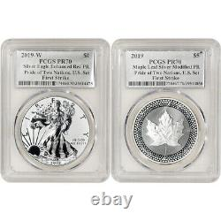 2019 Pride of Two Nations Two Coin Set PCGS PR70 First Strike Flag Label Silver