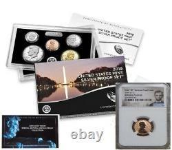 2019 Silver Proof Set & First W Mint Reverse Proof Cent Ngc Pf69rd