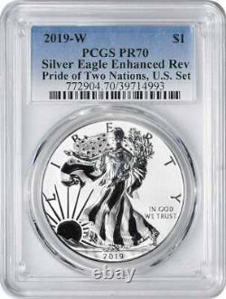 2019-W Pride of Two Nations Enhanced Rev Proof Silver Eagle PR70 U. S. Set PCGS